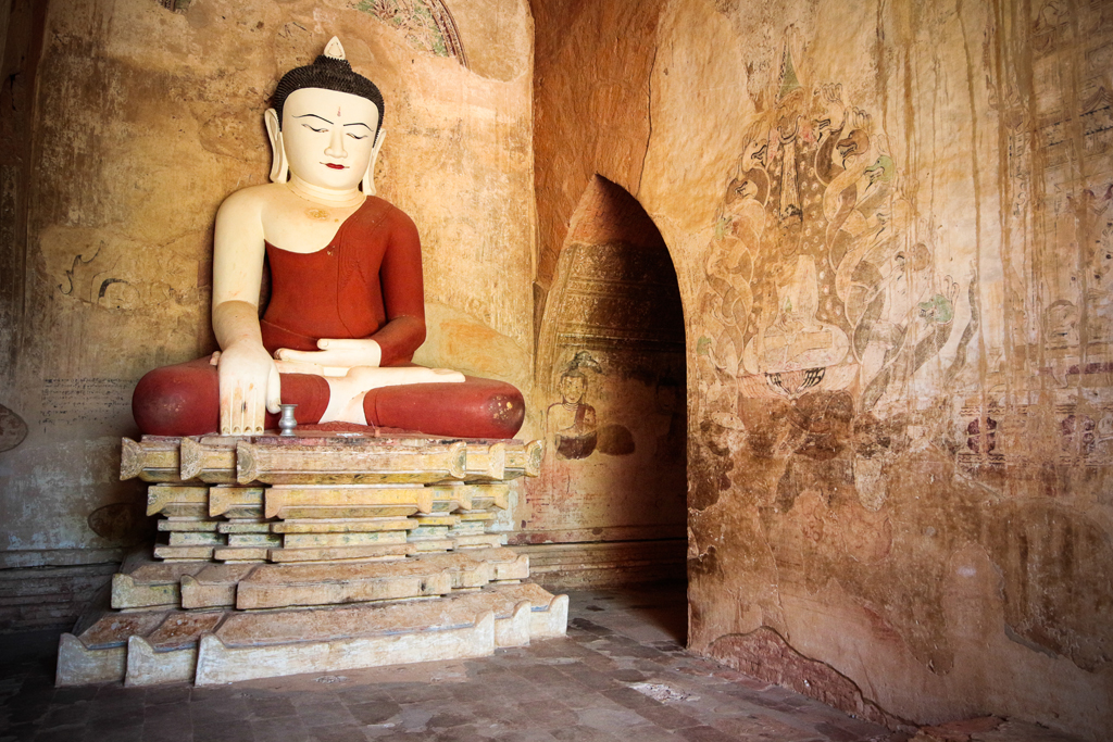 Fresques et bouddha, Myanmar