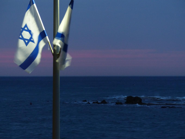 Bleu israélien et drapeaux, Tel Aviv, Israël
