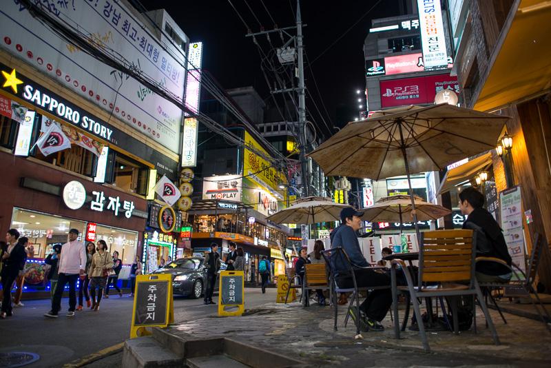 Gangnam food street, Séoul, Corée
