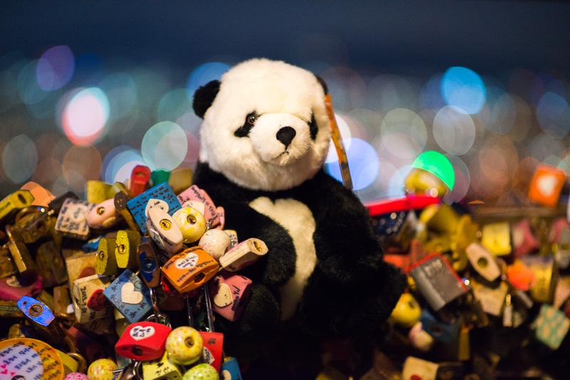 Panda et cadenas, Séoul, Corée du Sud