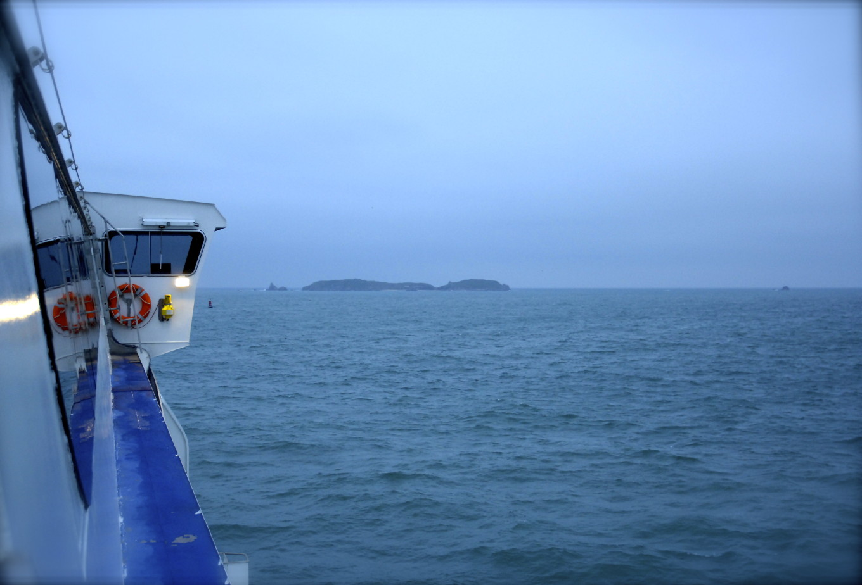 vue de Jersey depuis le ferry de Saint-Malo