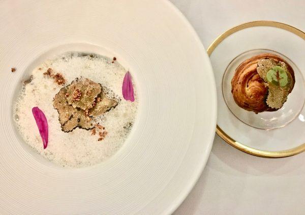 Artichaut cru et cuit, Bellota, Oeuf à 63°, Les Glycines, Les Eizies de Taillac