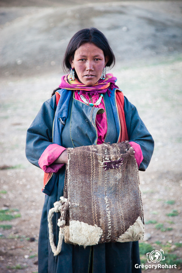 Femme nomade Changpa, Changtang, Ladakh, Inde.