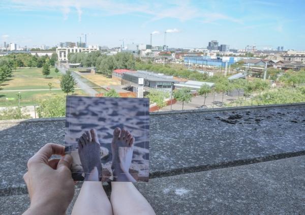 montage photo avec carte postale