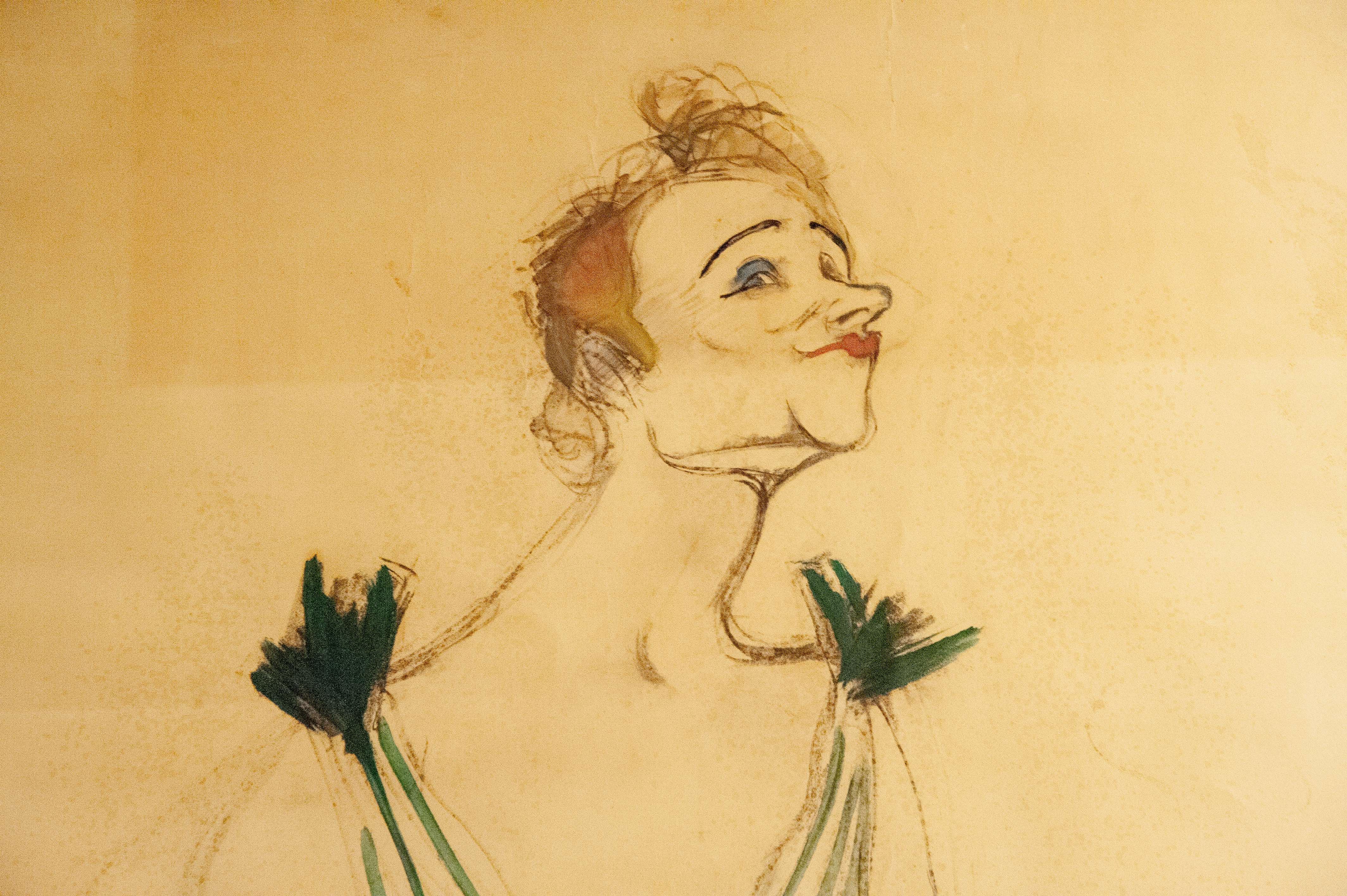 Yvette Guilbert, esquisse, musee Toulouse-Lautrec, Albi